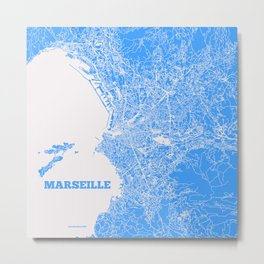 Marseille, France street map Metal Print