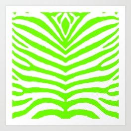 Neon Green and White Tropical Zebra Safari Stripes Art Print