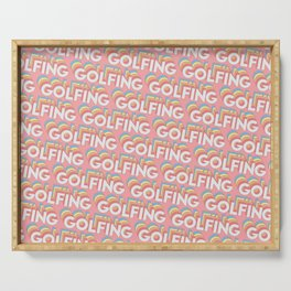 Golfing Trendy Rainbow Text Pattern (Pink) Serving Tray
