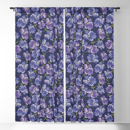 Purple Watercolour Blossom All Over Pattern Blackout Curtain