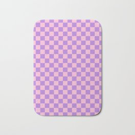 Cotton Candy Pink and Lavender Violet Checkerboard Bath Mat