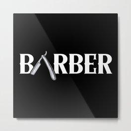 Barber Graphic Design Text Metal Print