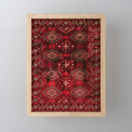 N129 - Epic Royal Red Oriental Traditional Moroccan Style Fabric Design  Framed Mini Art Print