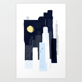 City Night – Navy / Blue Art Print