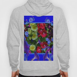 HOLLYHOCKS & MORNING GLORIES COTTAGE BLUE ART Hoody
