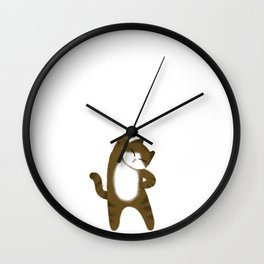 Brown cat / Illustration Wall Clock