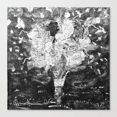 RETRO LACE BOUQUET Black and White Canvas Print
