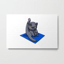 Yoga cat - Angry cat - grey cat - fat cat Metal Print