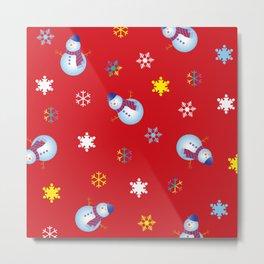 Snowflakes & Snowman_D Metal Print