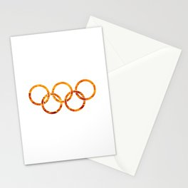 Flaming Olympic Rings Stationery Cards