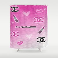 makeup Shower Curtains featuring Love Makeup by Luxe Glam Decor