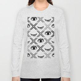 Original Black and White Eyes Design Long Sleeve T-shirt