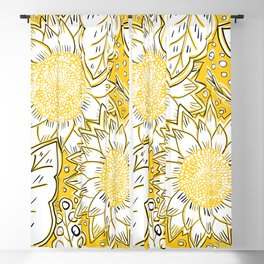 Sketched Sunset Sunflowers Blackout Curtain