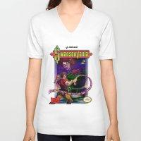 castlevania V-neck T-shirts featuring SwansonVania by Andrew Leta