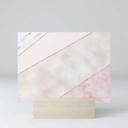 Spliced mixed pink marble and rose gold Mini Art Print