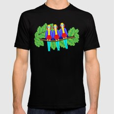 Three Colorful Birds on a Branch MEDIUM Black Mens Fitted Tee