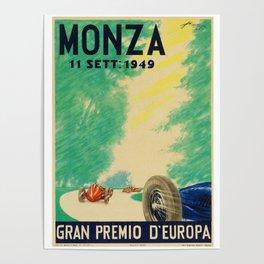 Grand Prix Monza, 1949, Gran Premio Monza, vintage poster Poster