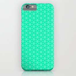 Turquoise and Soft Green Feminine Mini Mandala Kaleidoscope Country Design Pattern iPhone Case