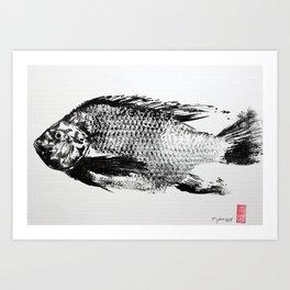 gyotaku - koi fish Art Print
