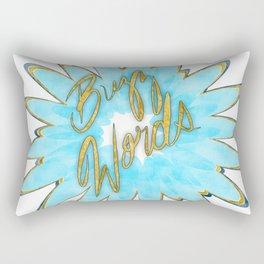 Teal Buzz Words Rectangular Pillow