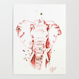 Red Elephant Poster