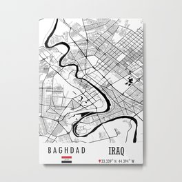 Baghdad, IRAQ Road Map Art - Earth Tones Metal Print