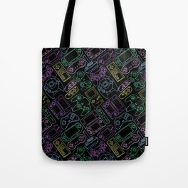 Video Game Controllers in Neon Colors Tote Bag