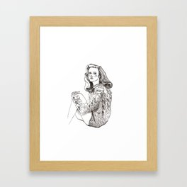 Girl in a Sweater, ink Framed Art Print