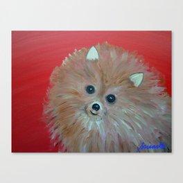 Folk art Pomeranian Dog Whimsical painting Canvas Print