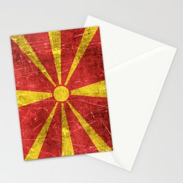 Vintage Aged and Scratched Macedonian Flag Stationery Cards