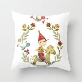 Watercolor Doll and Plants Throw Pillow
