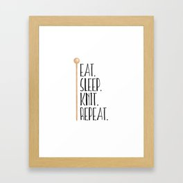 Eat Sleep Knit Repeat Framed Art Print