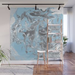 Cyan and grey Marble texture acrylic Liquid paint art Wall Mural