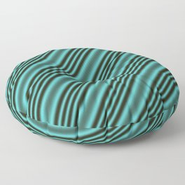 Black and Teal Modern Stripes Floor Pillow