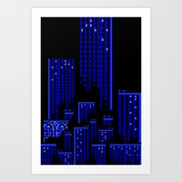 cityscape Art Prints featuring Cityscape by Something Funny Is Happening