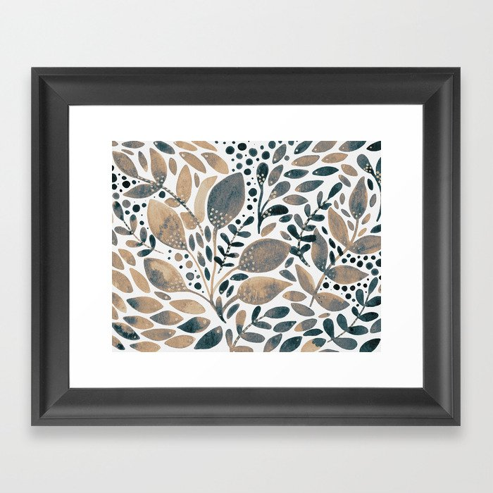 Watercolor branches and leaves - neutral Gerahmter Kunstdruck