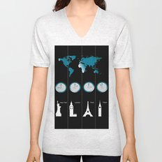 TIME ZONES. NEW YORK, LONDON, PARIS, TOKYO Unisex V-Neck