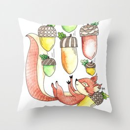Squirrel Catching Fall Acorns Throw Pillow