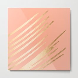 Sweet Life Swish Peach Coral + Orange Sherbet Metal Print