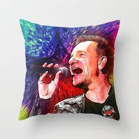 u2 Throw Pillows featuring U2 / Bono 3 by JR van Kampen