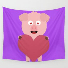 Pig with big Heart for Valentine Wall Tapestry