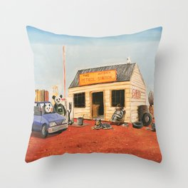 The Outback Petrol Station Throw Pillow