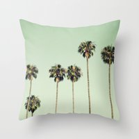 palm trees Throw Pillows featuring Palm Trees  by Laura Ruth