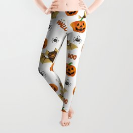 Bat, pumpkin and spider pattern Leggings