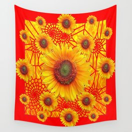 Vibrant Red-Yellow Sunflower Web Patterns Wall Tapestry