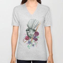 Floral Fantail Unisex V-Neck