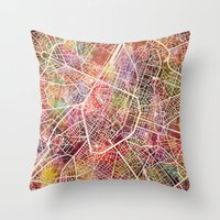 brussels Throw Pillows featuring Brussels by MapMapMaps.Watercolors