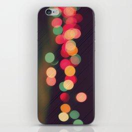 Vintage Colorful Christmas Bokeh iPhone Skin