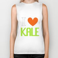 vegetarian Biker Tanks featuring I Love Kale - Vegan & Vegetarian - Kale Love by Be Kindly