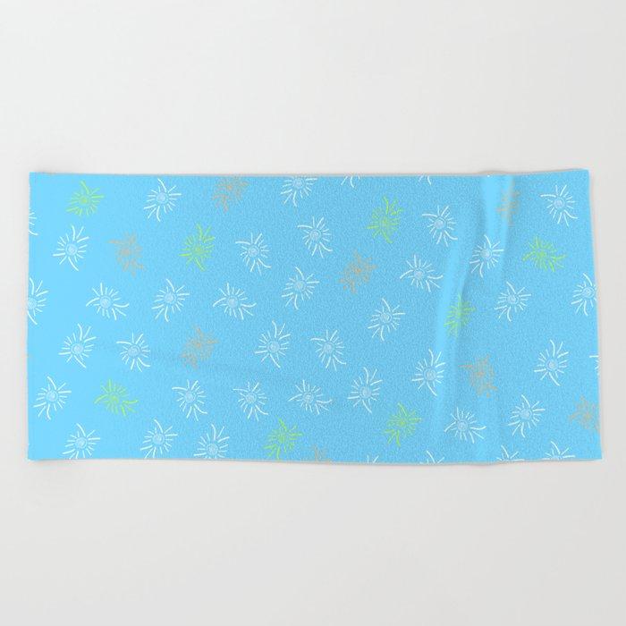 Blue Marine Feather Beach Towel